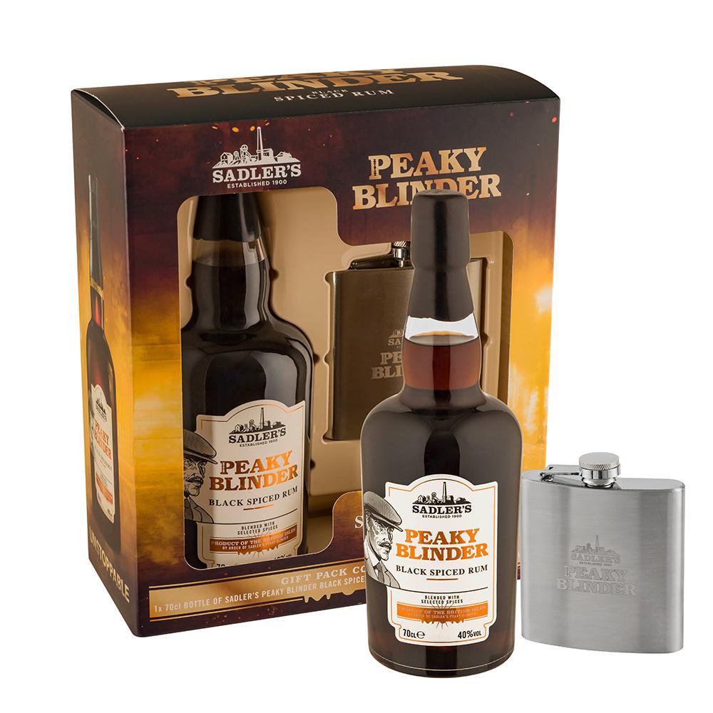 Peaky Blinder Black Spiced Rum + piersiówka